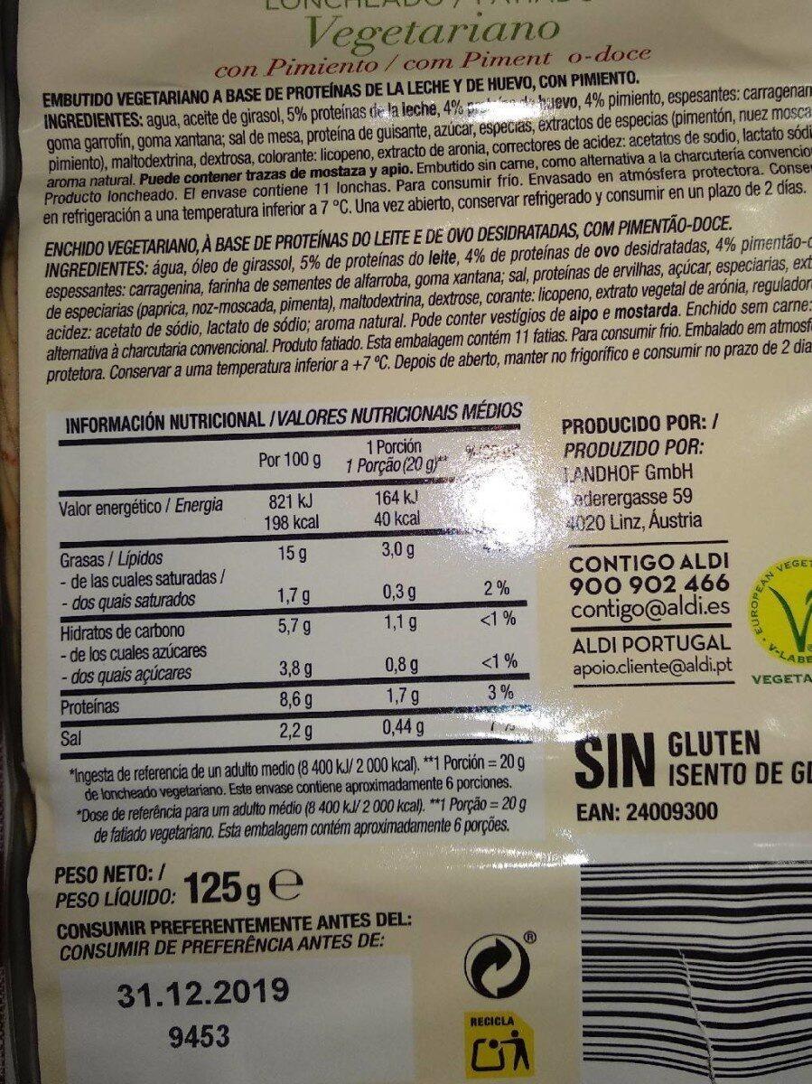 Loncheado Vegetariano con Pimiento - Informations nutritionnelles