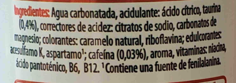 Red sugarfree - Ingredientes