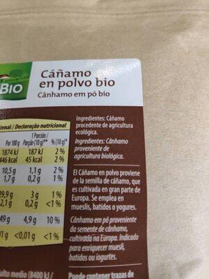 Cáñamo en polvo bio - Ingrédients