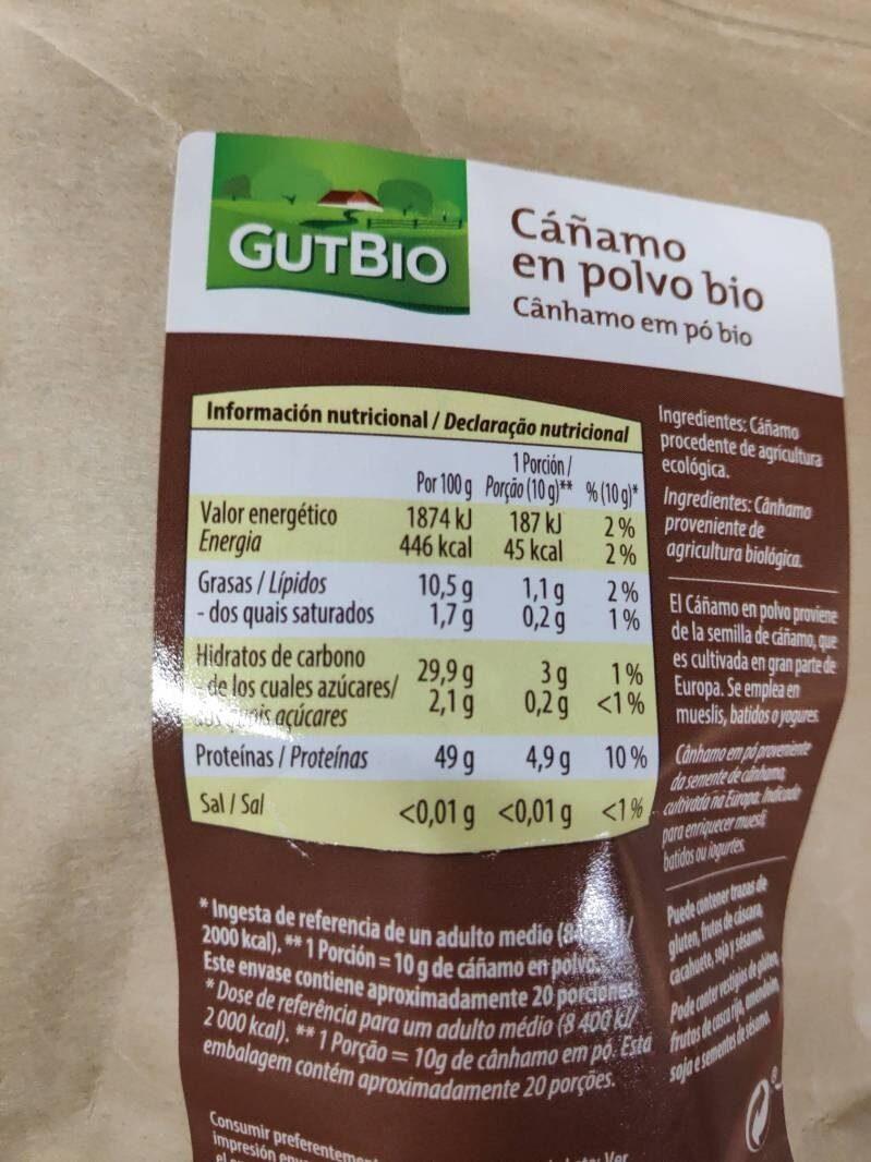 Cáñamo en polvo bio - Informations nutritionnelles