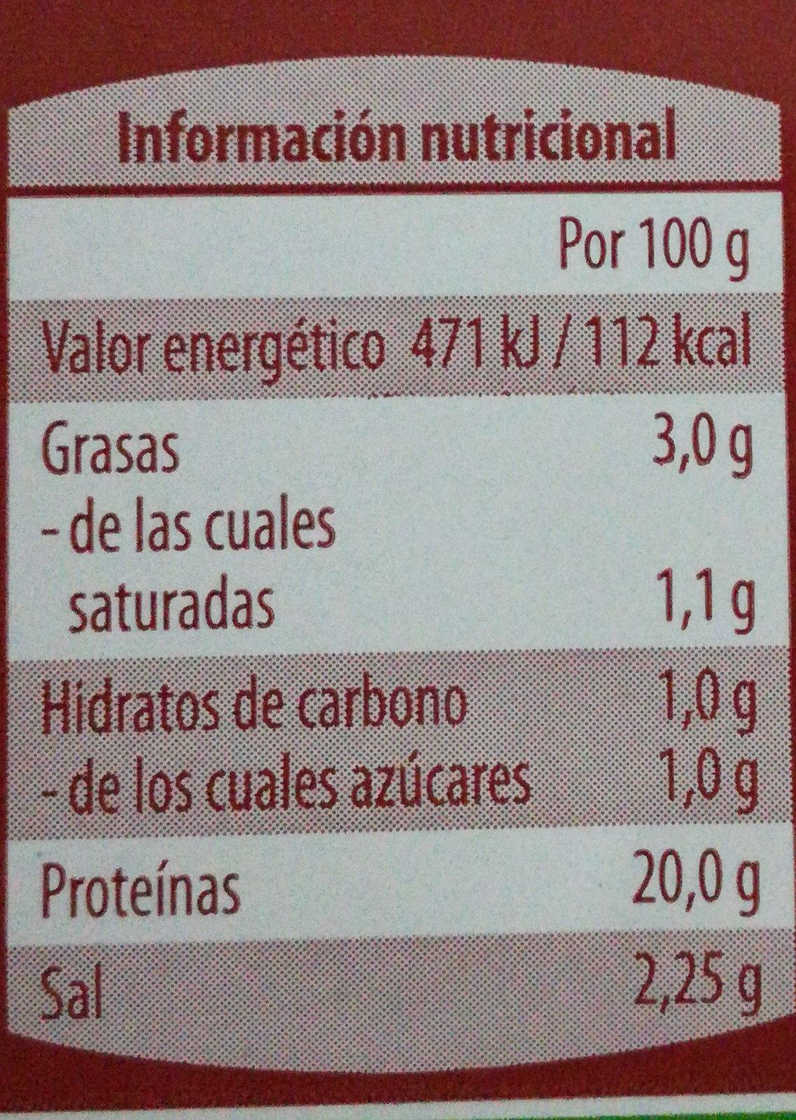 Jamón cocido al estilo Sajonia - Informació nutricional