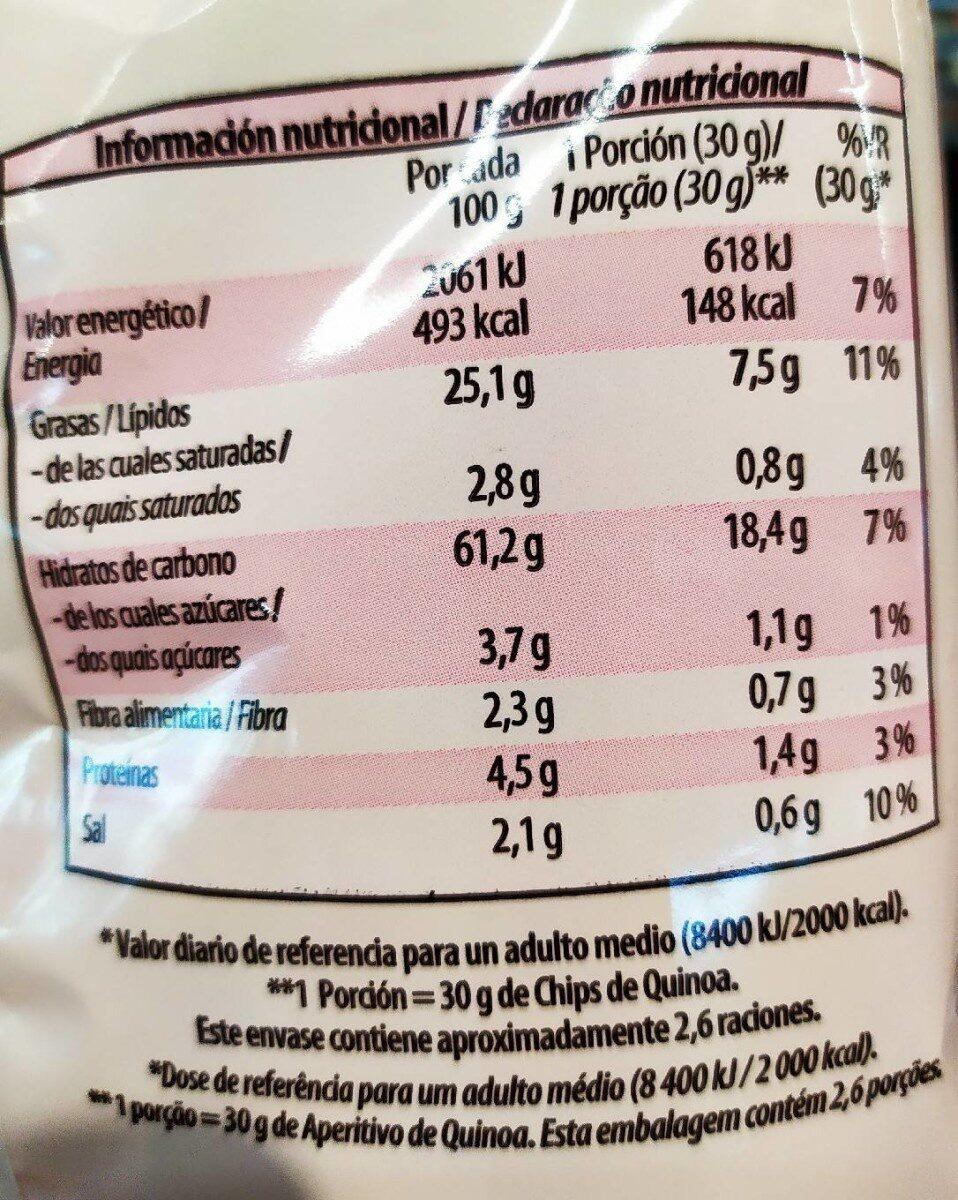 Chips de Quinoa - Información nutricional