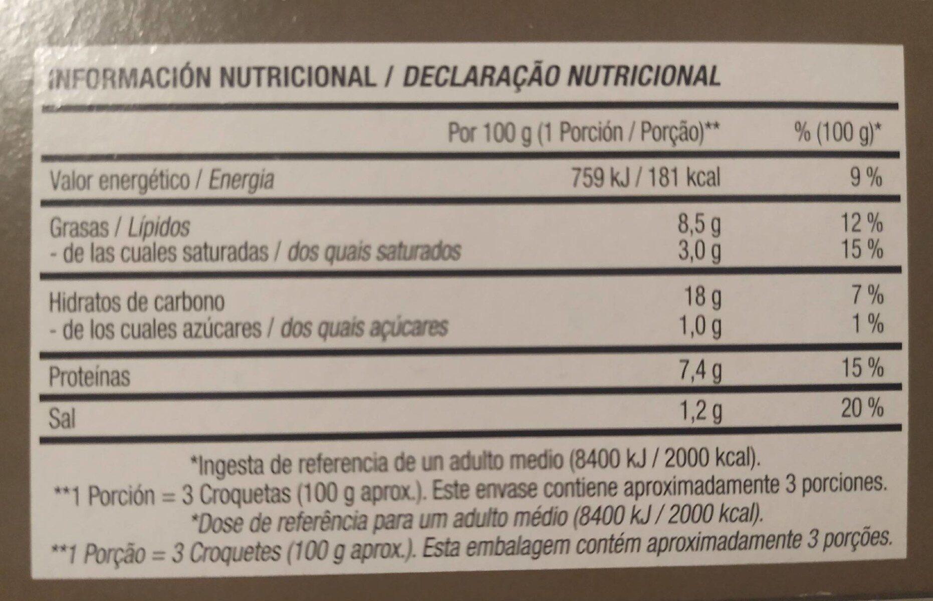 CAPRICHOS DE BACALAO - Informations nutritionnelles - es