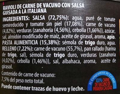 Riavoli de carne de vacuno con salsa guisada a la italiana - Ingredientes - es