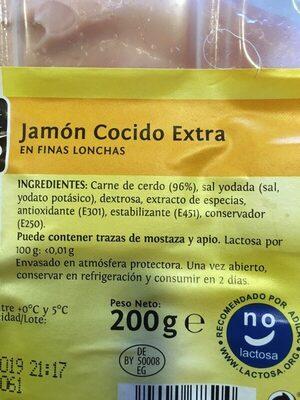 Jamon cocido en finas lonchas - Ingredients - es