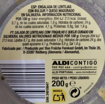Ensalada de cuscús - Información nutricional - es
