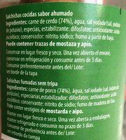 Salchichas cocidas ahumadas - Ingredients
