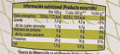 Atún claro en aceite de oliva - Valori nutrizionali - fr