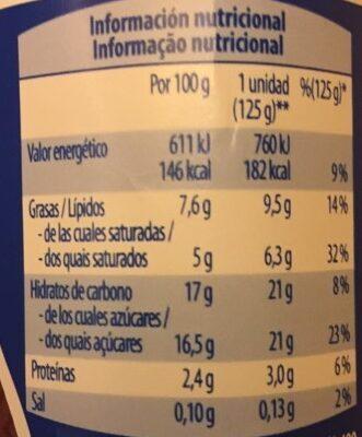 Griego yogur straccitella - Informació nutricional - es