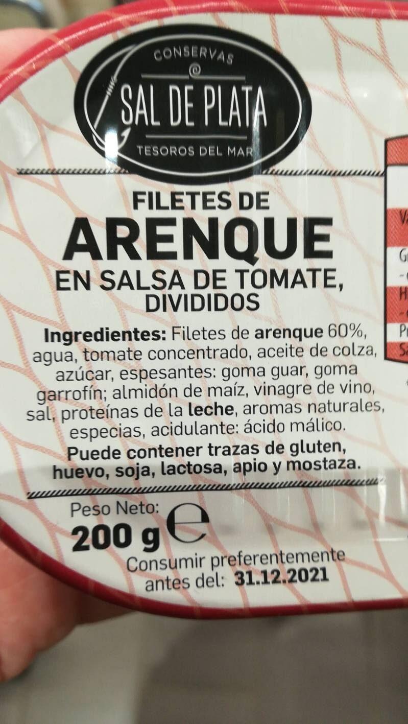 Filetes de arenque en salsa de tomate - Ingredientes - es