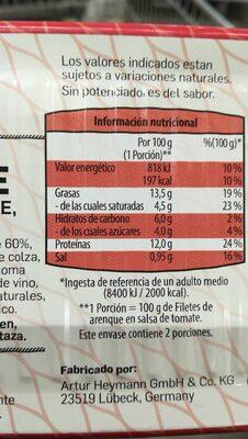 Filetes de arenque en salsa de tomate - Información nutricional - es