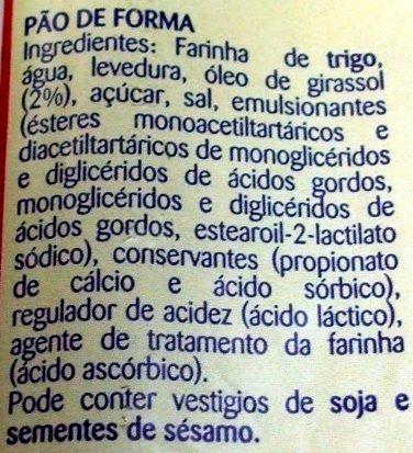 Pão de Forma - Ingredients