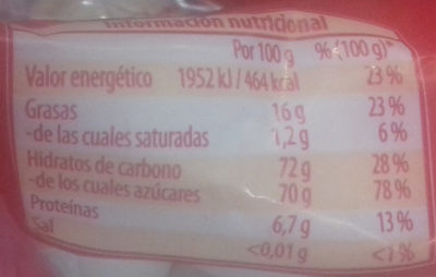Peladillas - Información nutricional