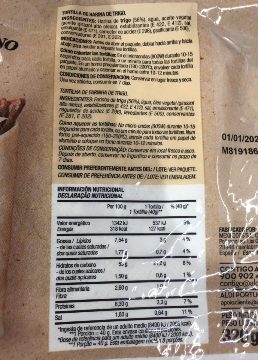 Tortitas de trigo - Valori nutrizionali - es