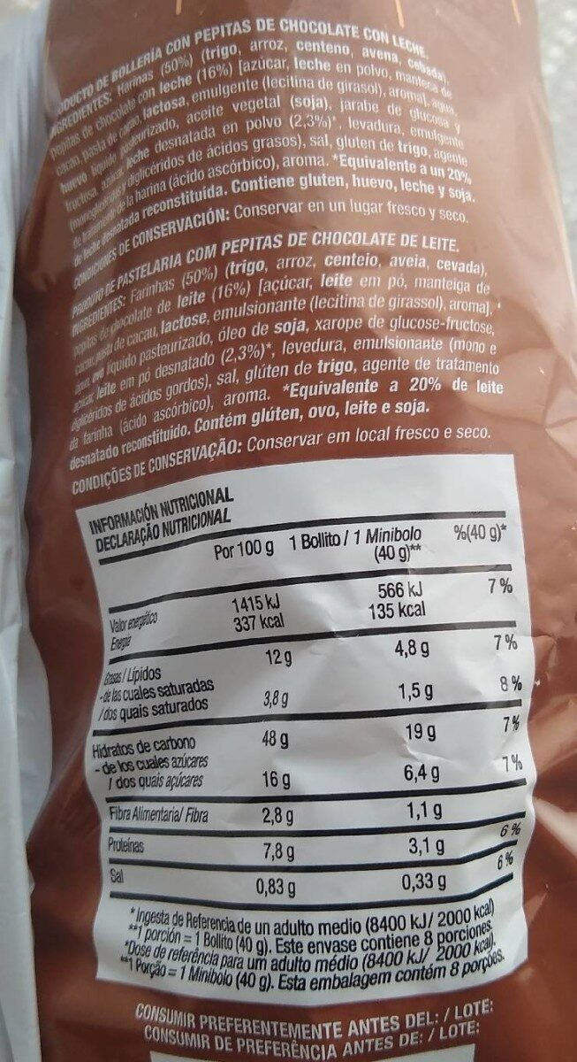 Bollitos con pepitas de chocolate con leche - Informations nutritionnelles - es