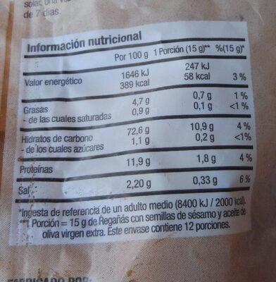 Regañas - Información nutricional - en