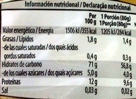 Spaghetti - Informations nutritionnelles - pt