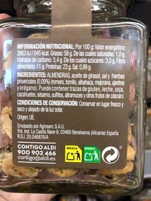 Almendra frita con hierbas provenzales - Informations nutritionnelles - es