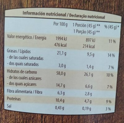 Muesli crujiente - Informació nutricional - es