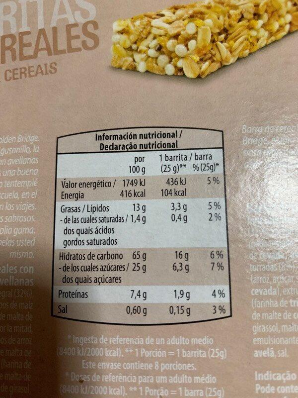 Barritas de Cereales - Arándanos Rojos - Información nutricional
