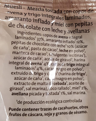 Muesli crujiente amarato y chocolate con leche - Ingredients - es