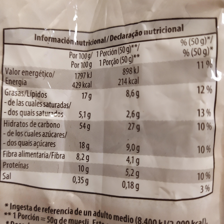 Muesli crujiente con frutas y cereales - Información nutricional