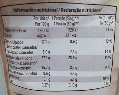 Muesli crujiente amarato y chocolate con leche - Nutrition facts - es