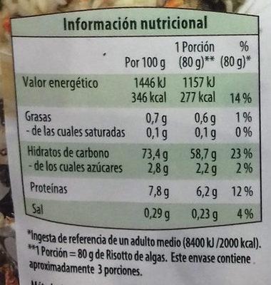 Preparado para tabulé de quinoa - Información nutricional