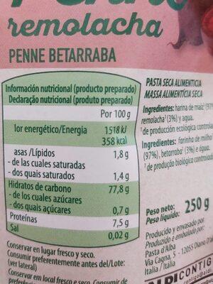 Penne remolacha - Informations nutritionnelles - es