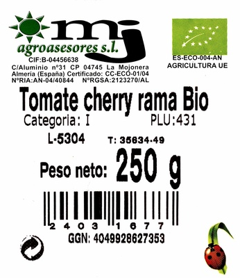 Tomate Cherry Rama Ecológico - Ingredientes