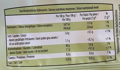 Galettes de riz bio - Información nutricional