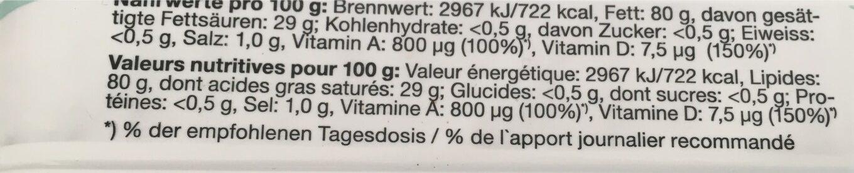 Bellasan Margarine Butter - Informazioni nutrizionali - fr