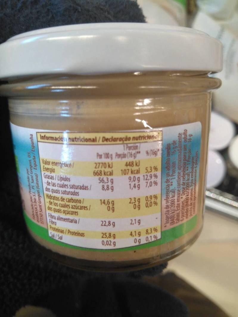 Tahin - Información nutricional