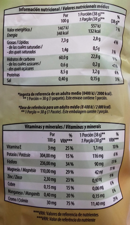 Snacks de Maíz - Información nutricional