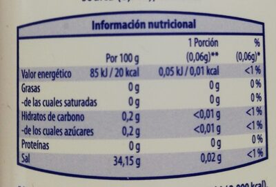 Edulcorante - Informations nutritionnelles - es