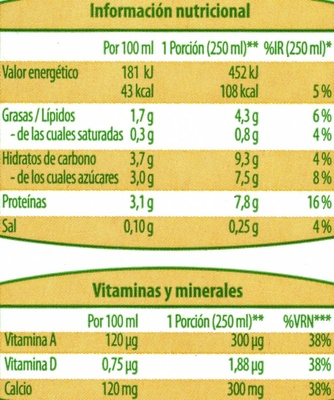Bebida de soja - Informació nutricional
