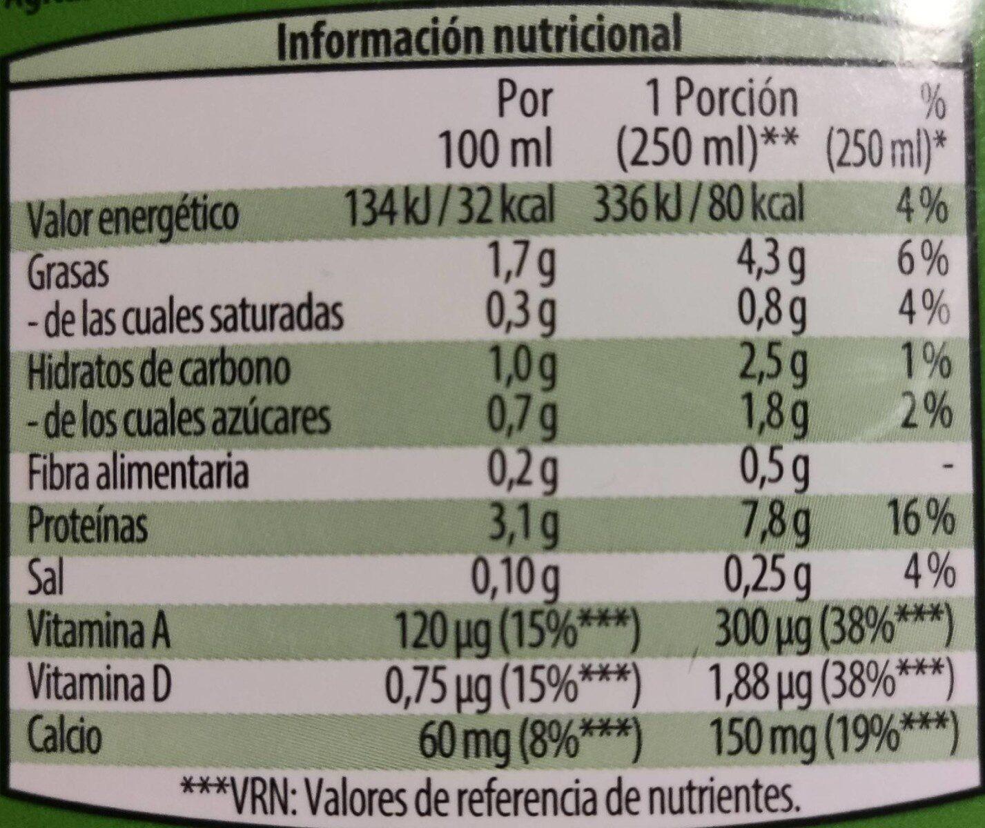 Bebido de Soja - Nutrition facts - es