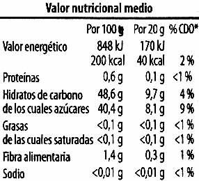 Mermelada De zanahoria y naraja - Voedingswaarden