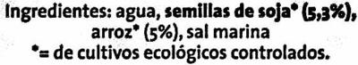 """Bebida de soja y arroz ecológica """"GutBio"""" Natural - Ingredients"""