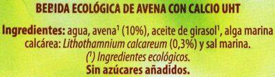 Bebida de avena - Ingredientes