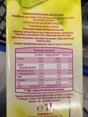 Bebida de avena - Informations nutritionnelles - es