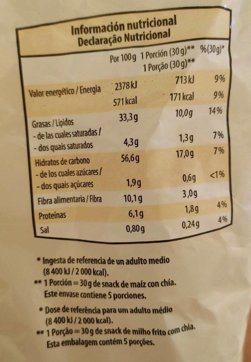 Fritos de maíz con chía - Voedigswaarden