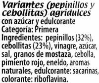 Pepinillos y cebollitas - Ingredientes