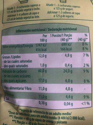 Copos de avena con plátano - Nutrition facts