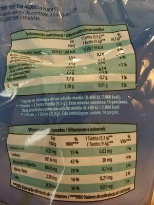 Tortitas de arroz con sal - Nutrition facts