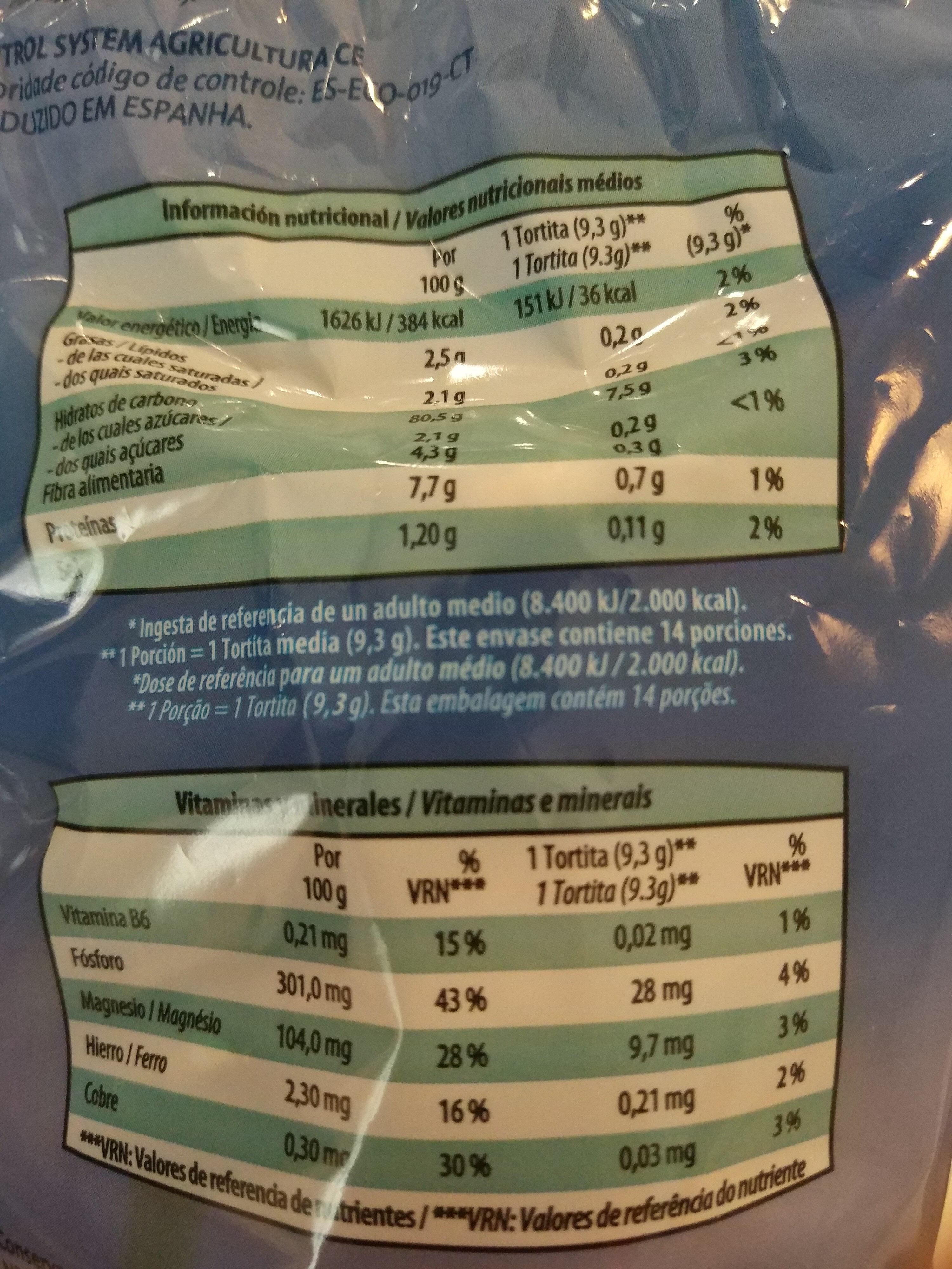 Tortitas de arroz con sal - Nutrition facts - es