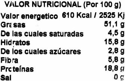 Almendras crudas con piel - Informació nutricional