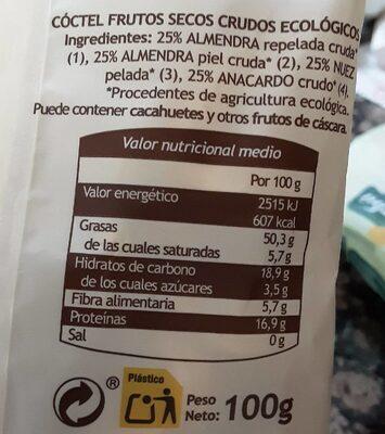 Frutos secos crudos Gutbio - Información nutricional - es