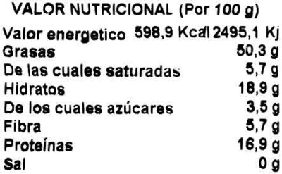 Frutos secos crudos - Informations nutritionnelles