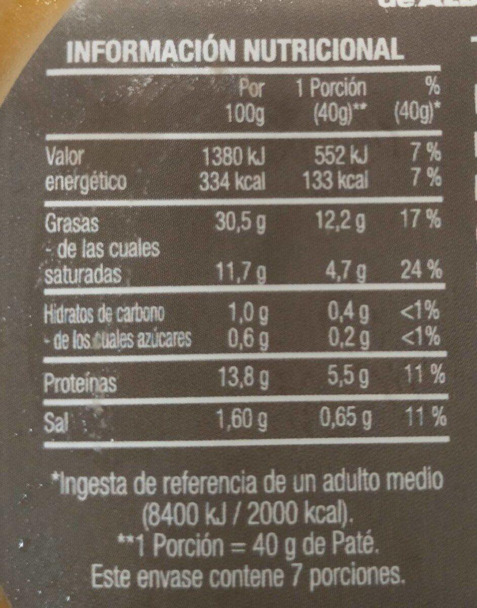 Terrina de paté de foie - Informació nutricional - es